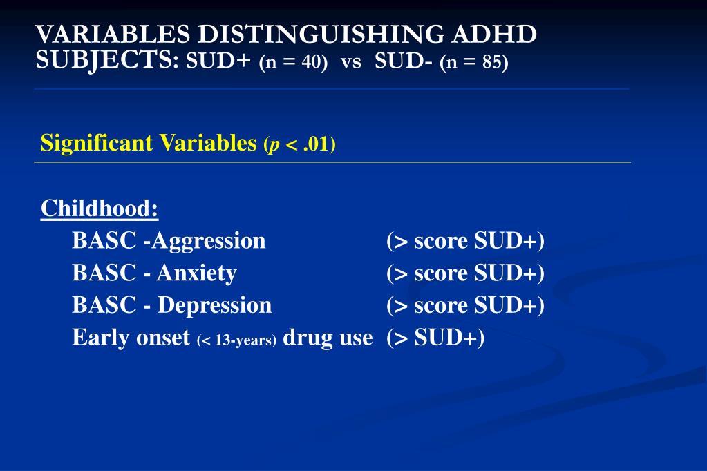 VARIABLES DISTINGUISHING ADHD SUBJECTS: