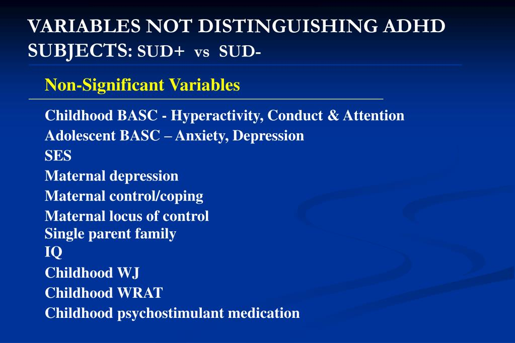 VARIABLES NOT DISTINGUISHING ADHD SUBJECTS: