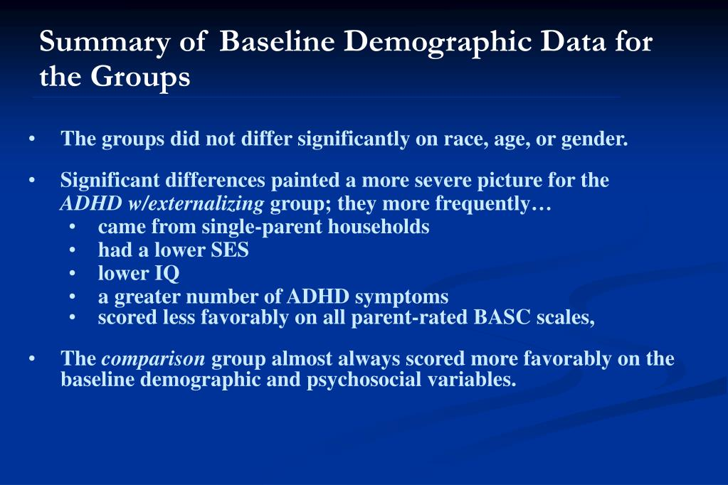 Summary of Baseline Demographic Data for the Groups