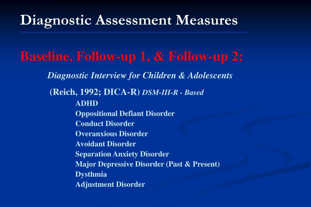 Diagnostic Assessment Measures