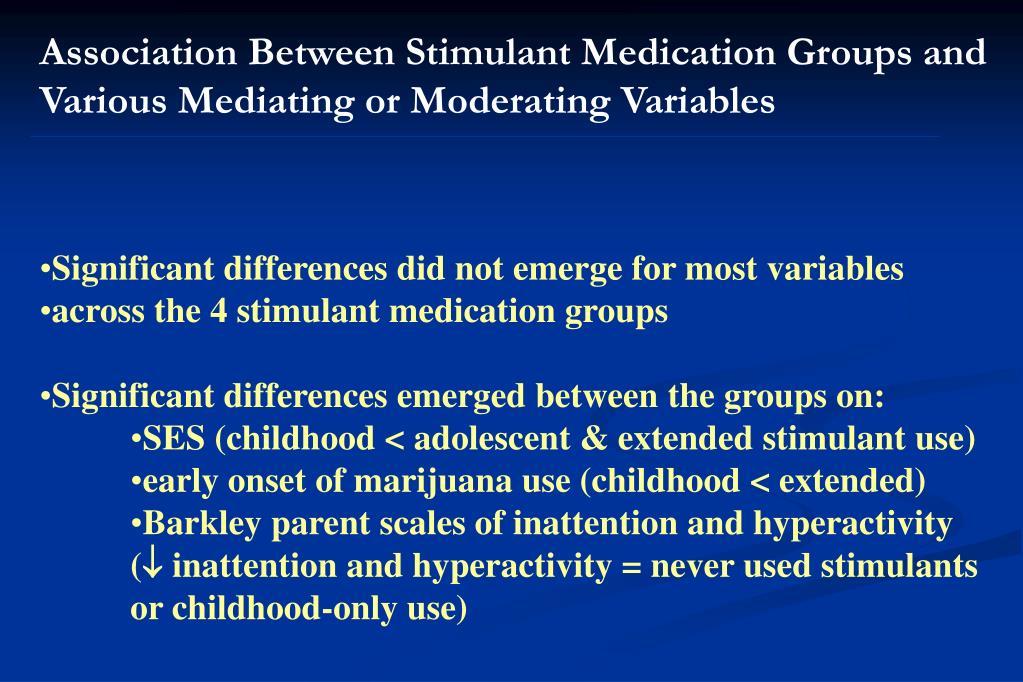 Association Between Stimulant Medication Groups and Various Mediating or Moderating Variables
