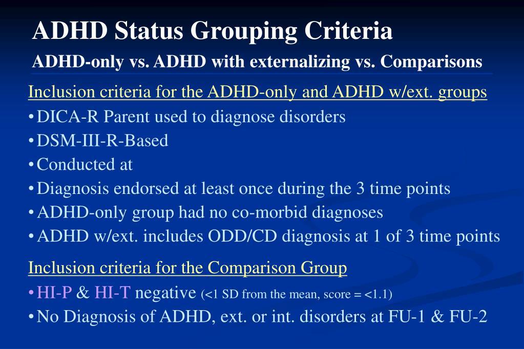 ADHD Status Grouping Criteria