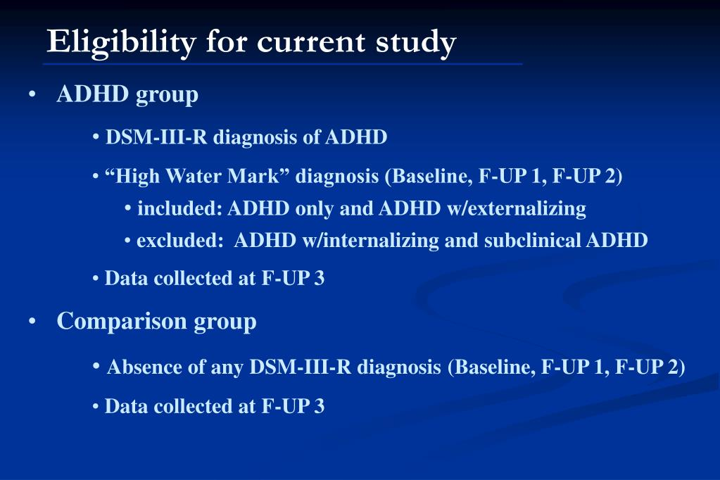 Eligibility for current study