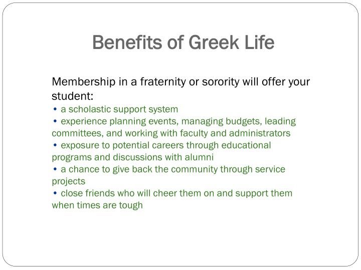 Benefits of greek life