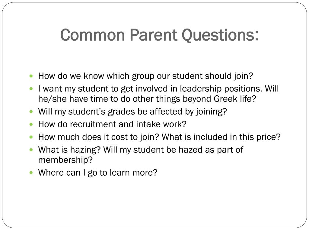Common Parent Questions