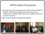 nphc intake procedures