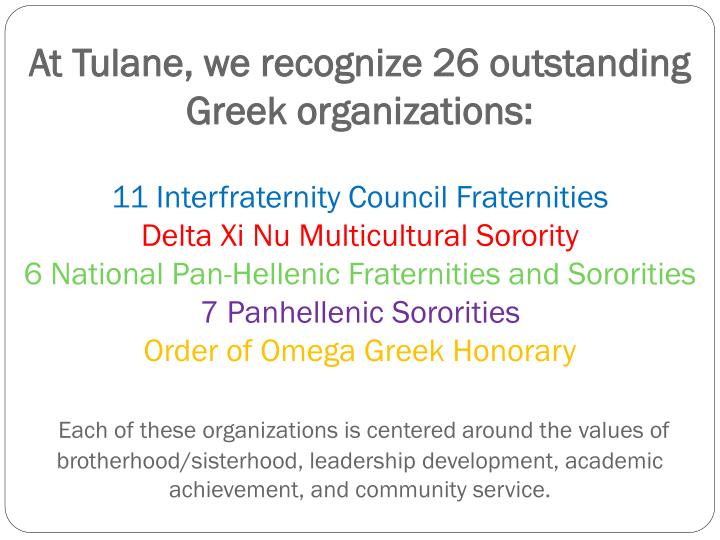 At Tulane, we recognize 26 outstanding  Greek organizations: