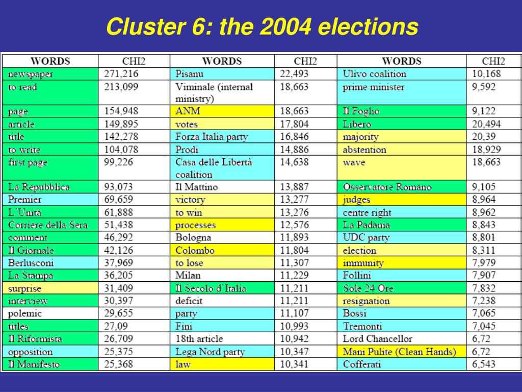 Cluster 6: the 2004 elections