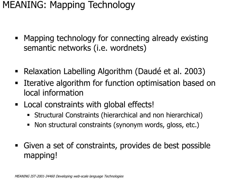 MEANING: Mapping Technology