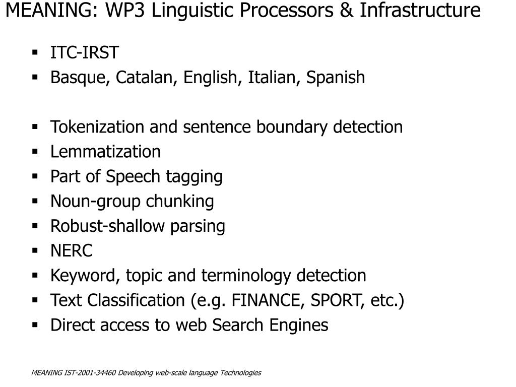 MEANING: WP3 Linguistic Processors & Infrastructure