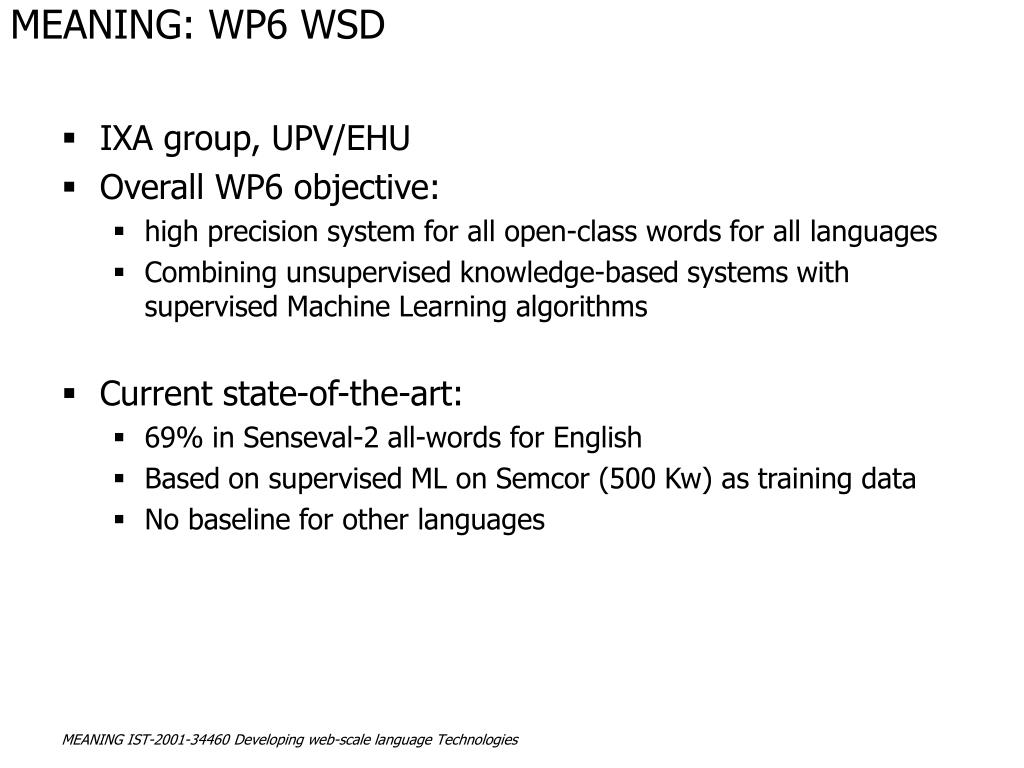MEANING: WP6 WSD