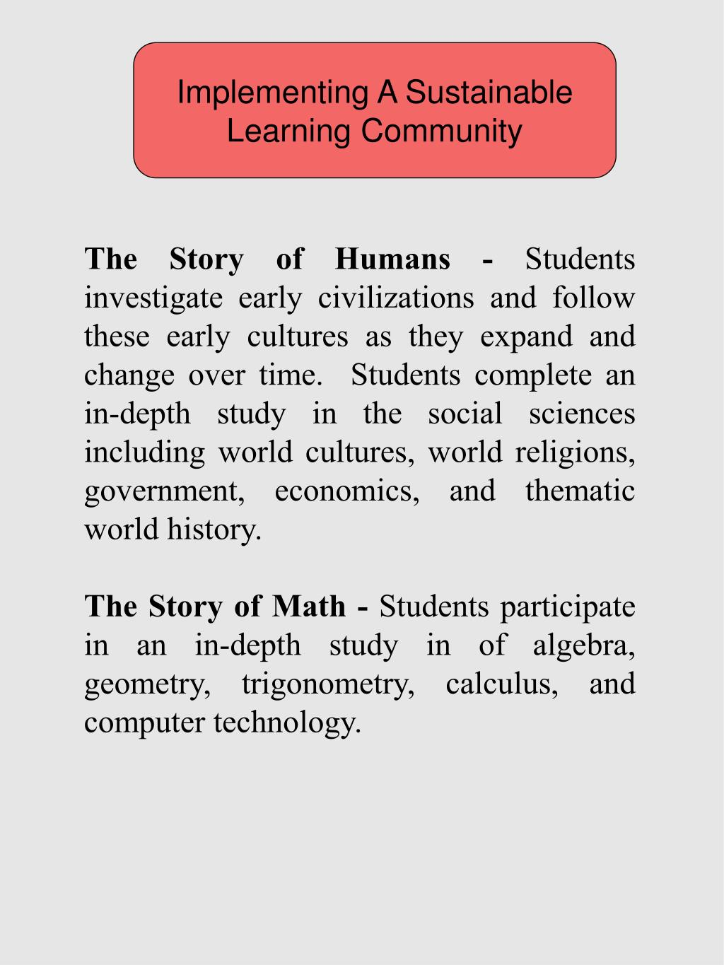 Implementing A Sustainable Learning Community