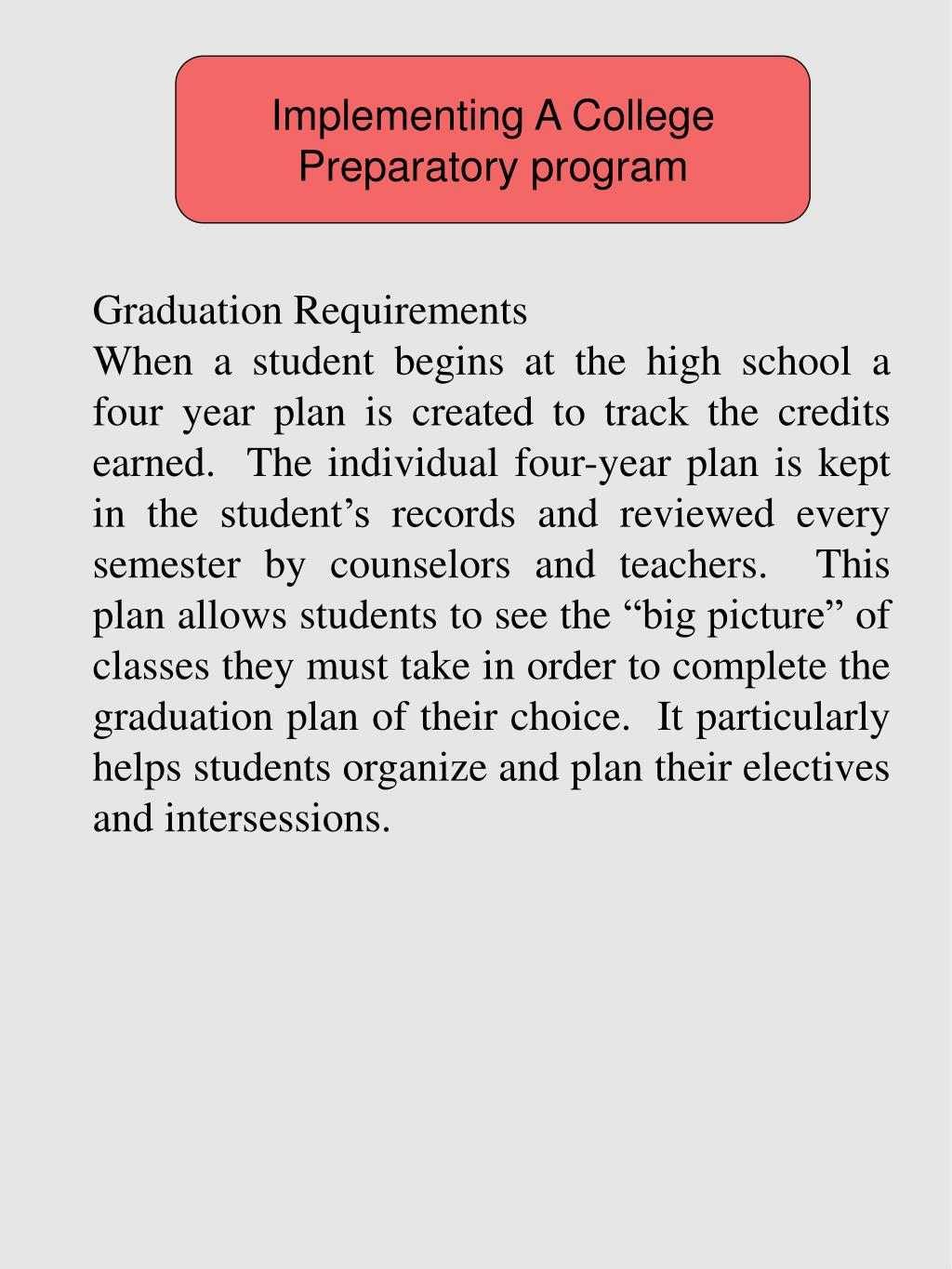Implementing A College Preparatory program