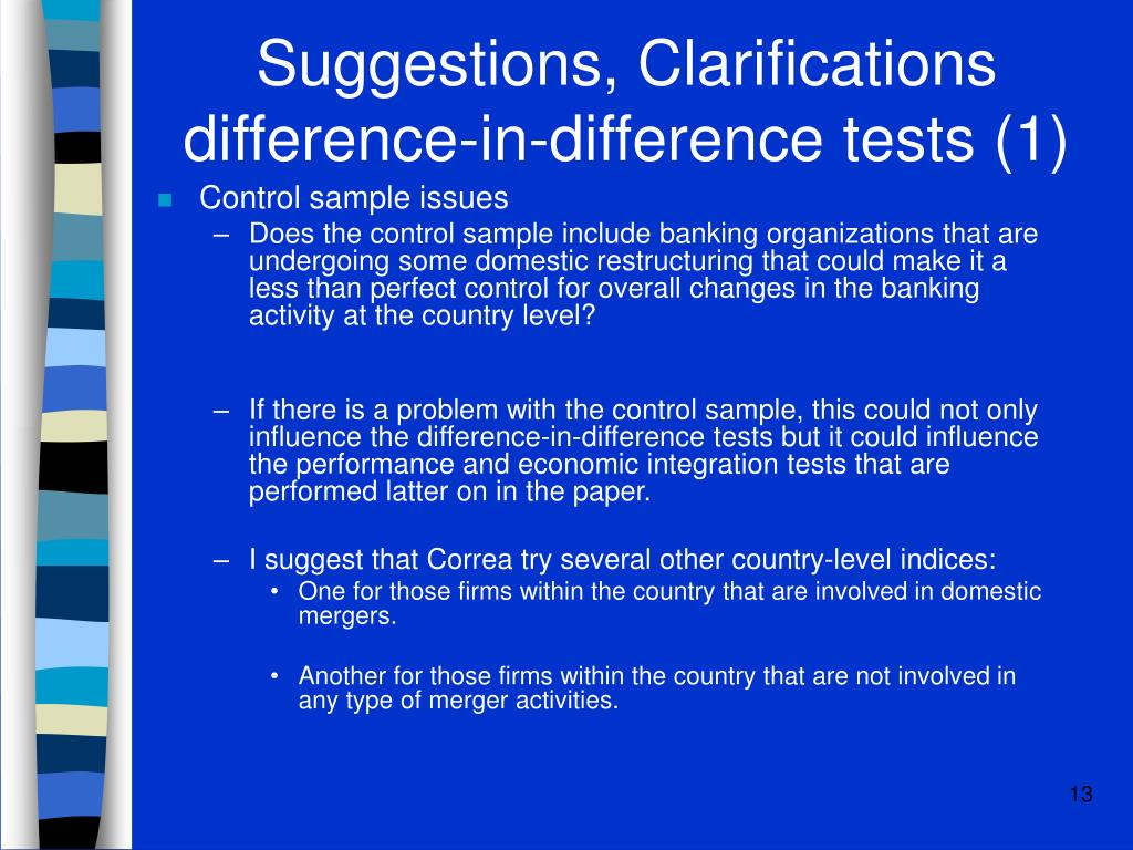 Suggestions, Clarifications difference-in-difference tests (1)