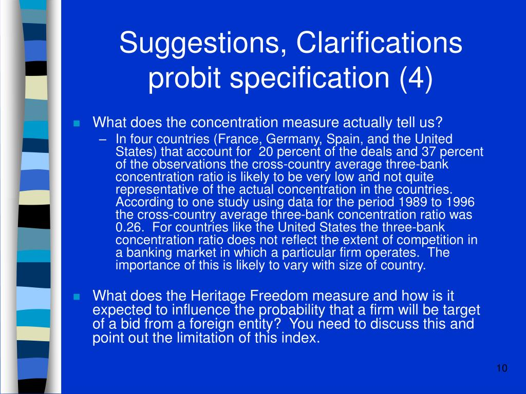 Suggestions, Clarifications