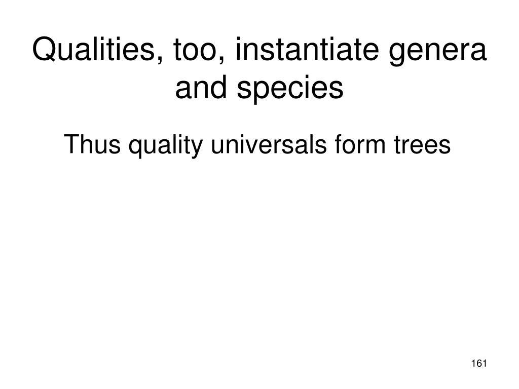 Qualities, too, instantiate genera and species