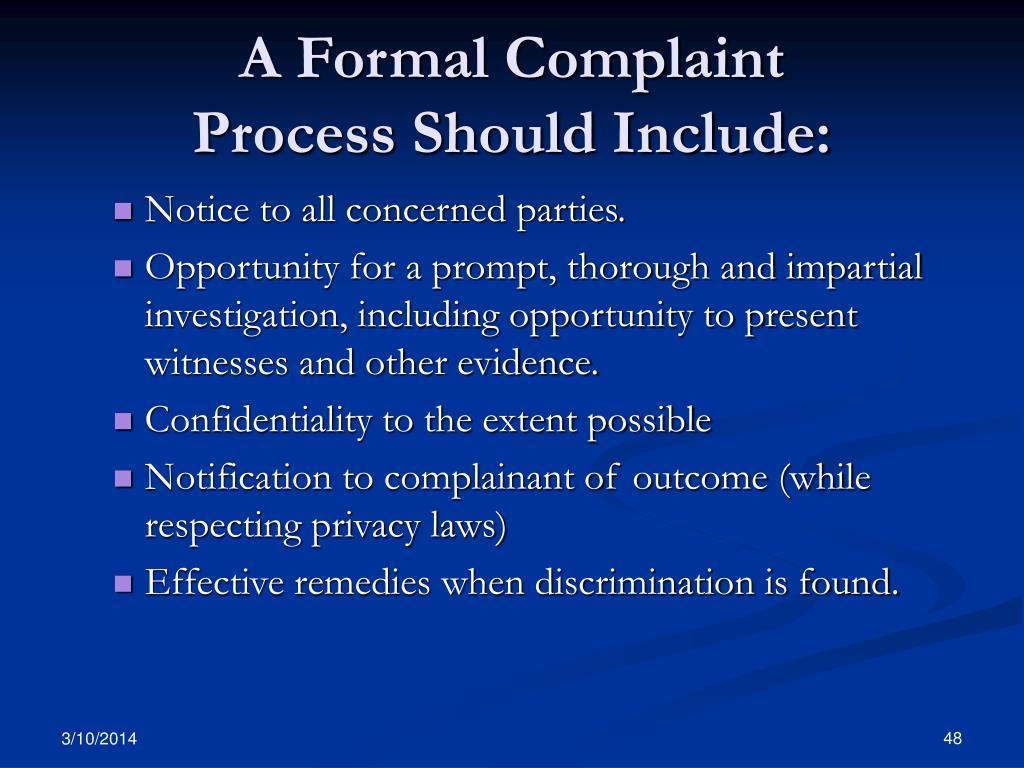 A Formal Complaint