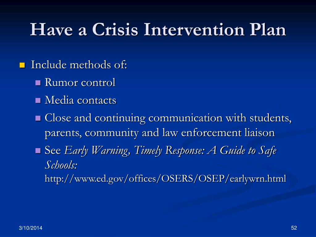 Have a Crisis Intervention Plan