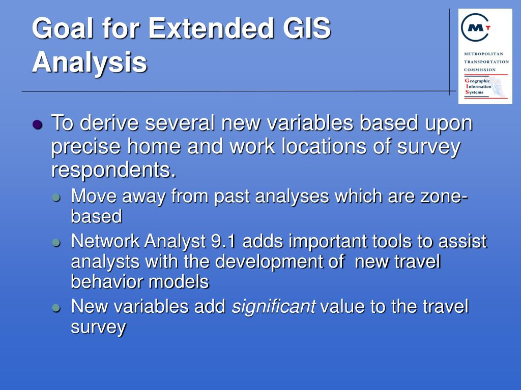 Goal for Extended GIS Analysis