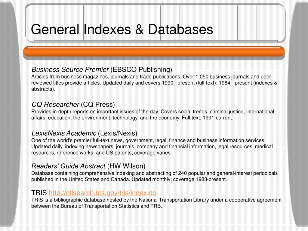 General Indexes & Databases