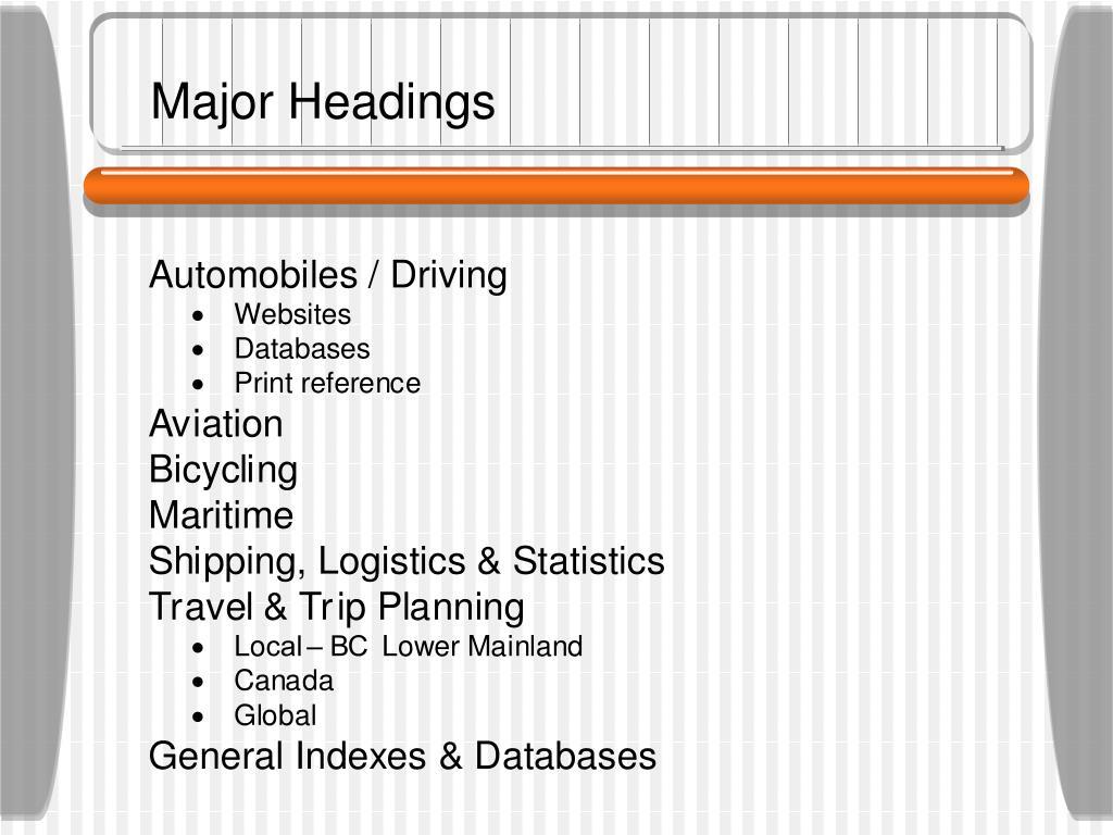 Major Headings
