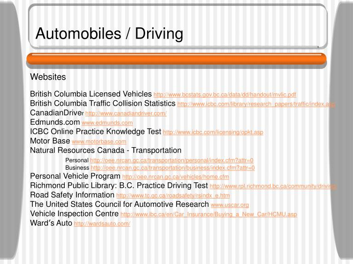 Automobiles / Driving