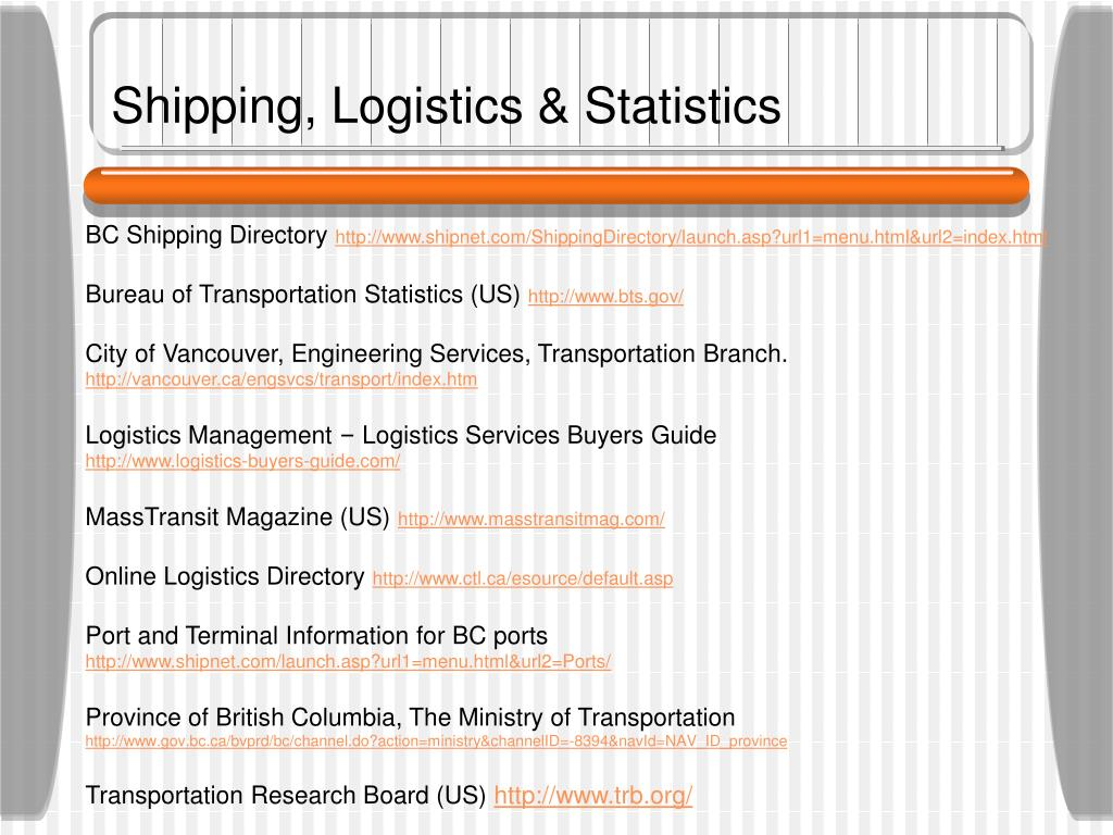 Shipping, Logistics & Statistics