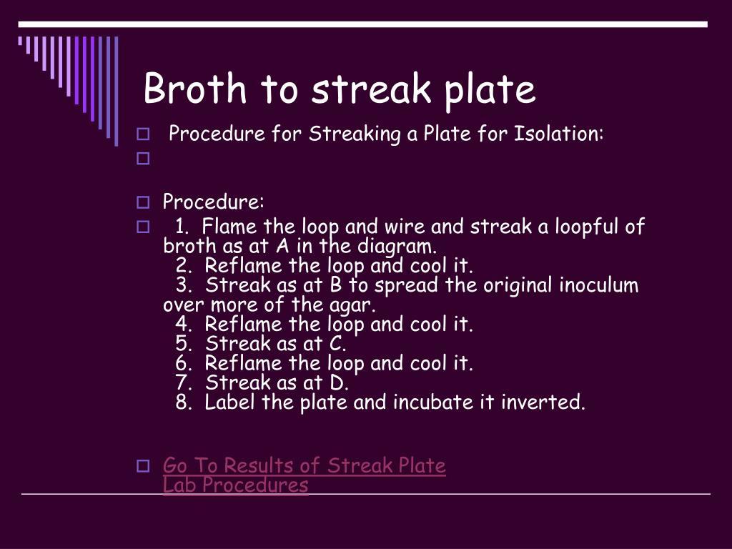 Broth to streak plate