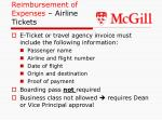 reimbursement of expenses airline tickets