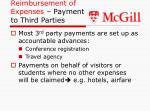 reimbursement of expenses payment to third parties
