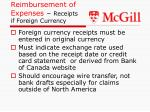 reimbursement of expenses receipts if foreign currency