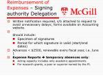 reimbursement of expenses signing authority delegation
