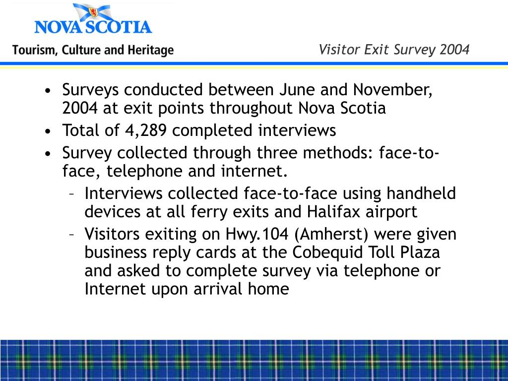 Surveys conducted between June and November, 2004 at exit points throughout Nova Scotia