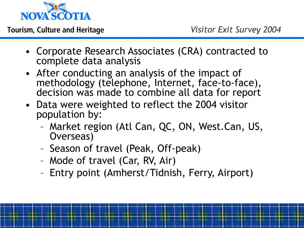 Corporate Research Associates (CRA) contracted to complete data analysis