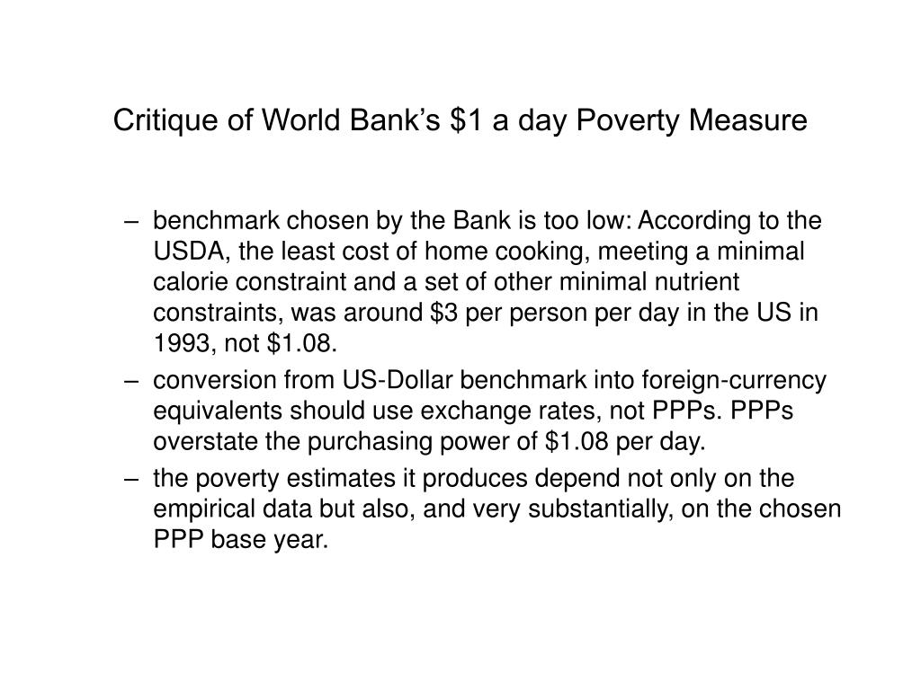 Critique of World Bank's $1 a day Poverty Measure
