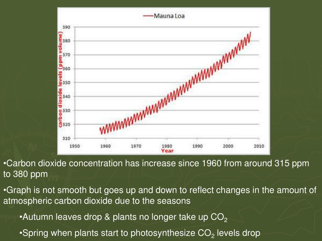 Carbon dioxide concentration has increase since 1960 from around 315 ppm to 380 ppm