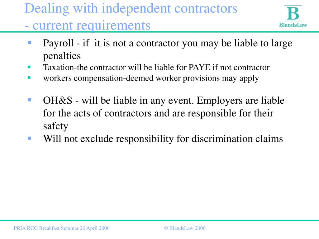 Dealing with independent contractors