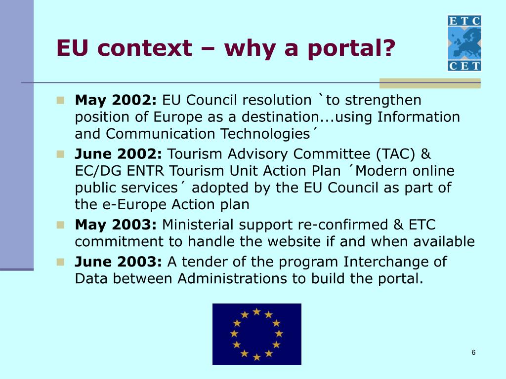 EU context – why a portal?