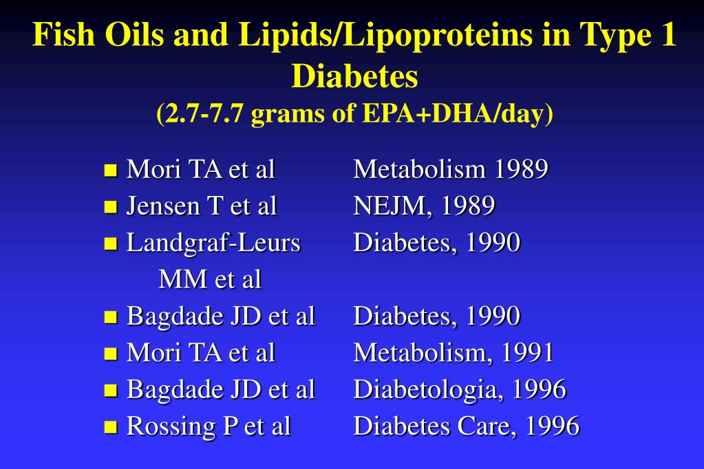 Fish Oils and Lipids/Lipoproteins in Type 1 Diabetes