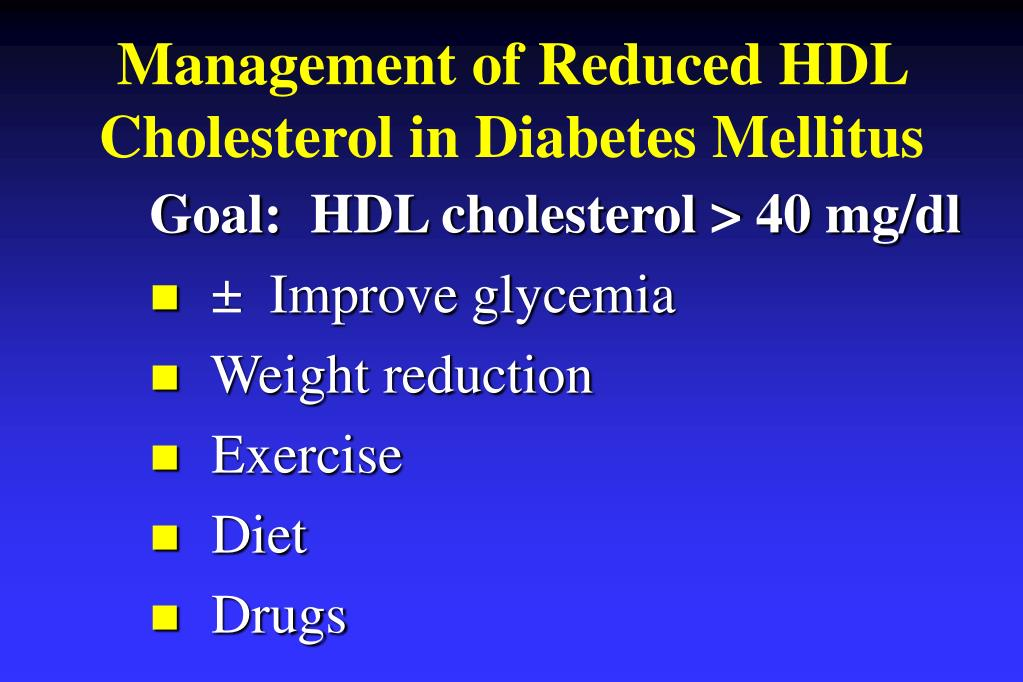 Management of Reduced HDL Cholesterol in Diabetes Mellitus