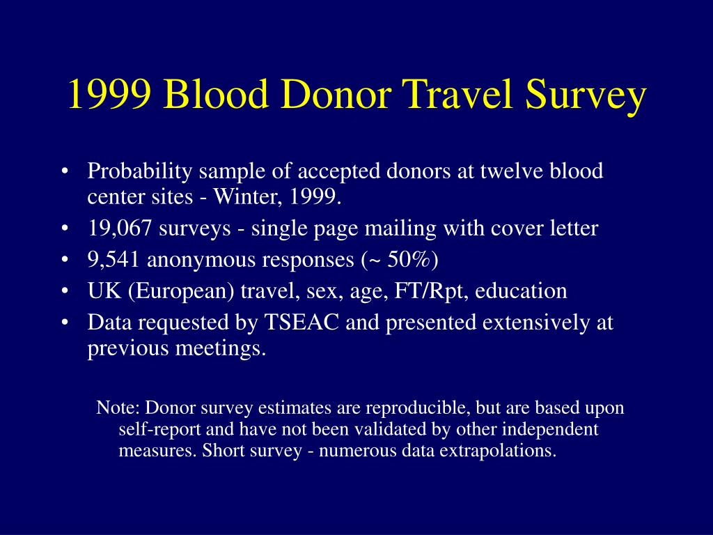 1999 Blood Donor Travel Survey