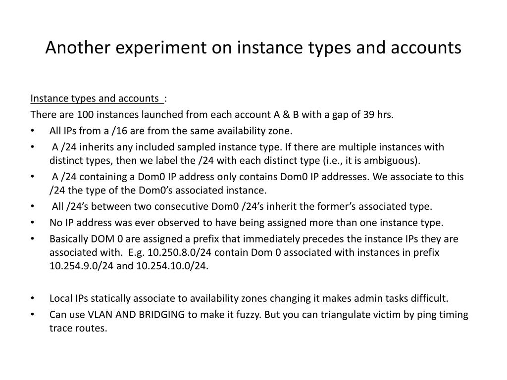 Another experiment on instance types and accounts