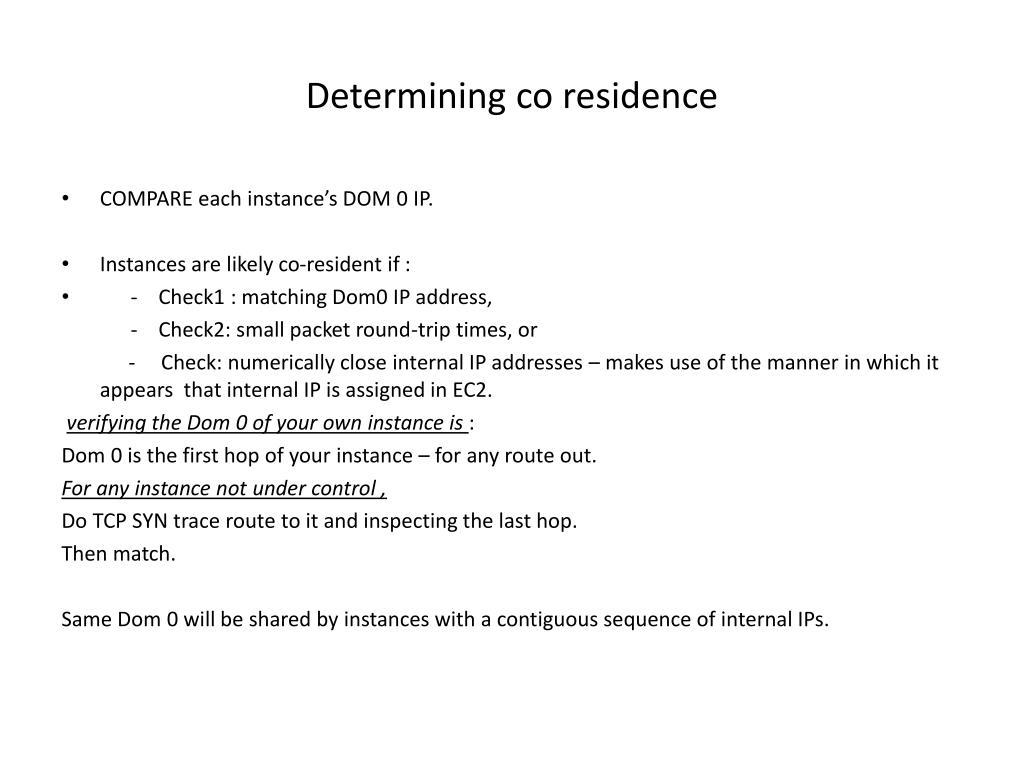 Determining co residence
