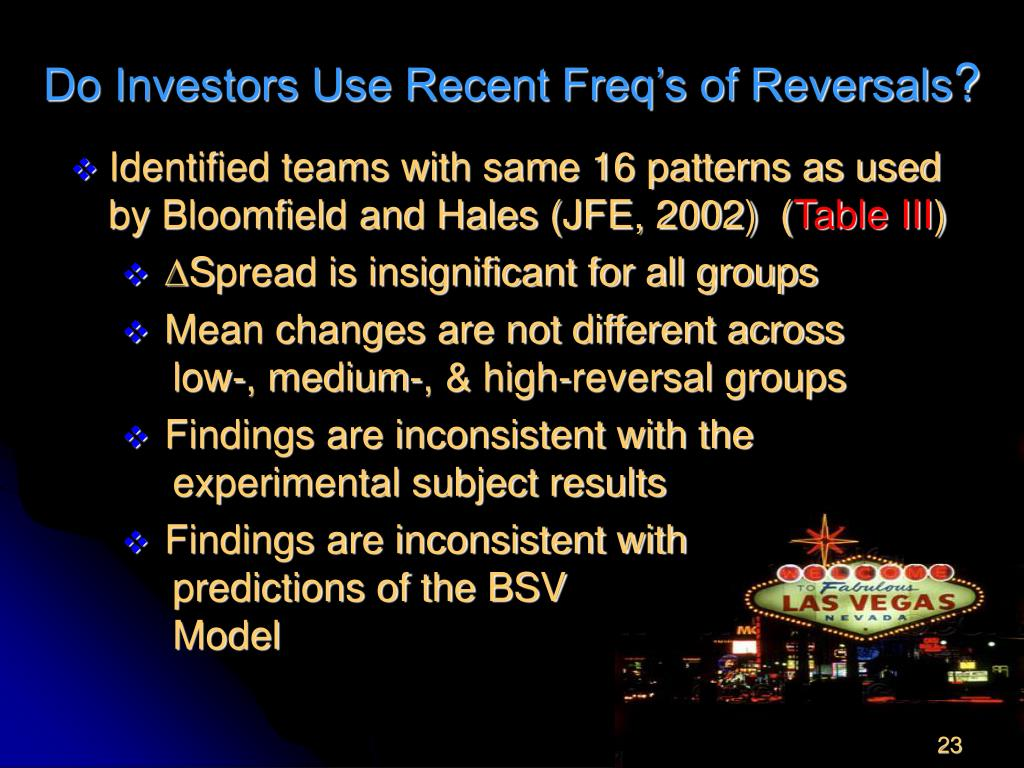 Do Investors Use Recent Freq's of Reversals