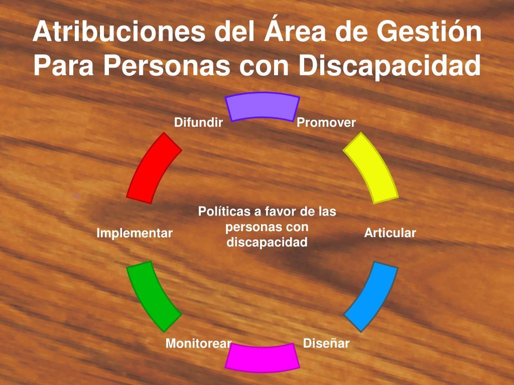 Atribuciones del Área de Gestión Para Personas con Discapacidad