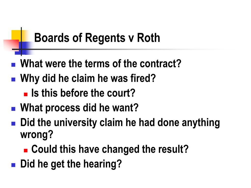 Boards of Regents v Roth