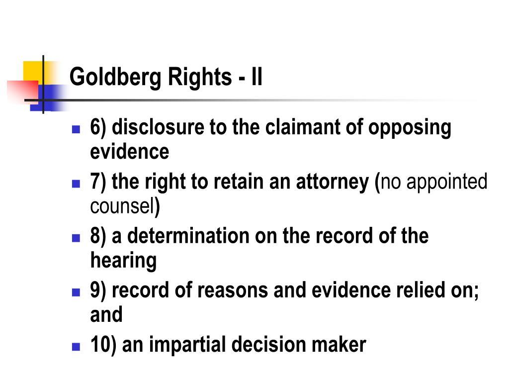 Goldberg Rights - II