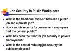 job security in public workplaces