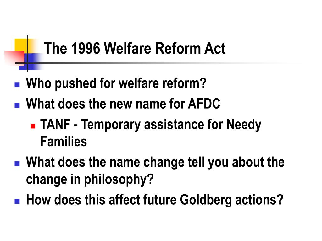 The 1996 Welfare Reform Act