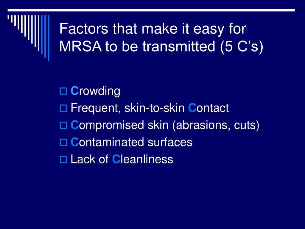 Factors that make it easy for MRSA to be transmitted (5 C's)